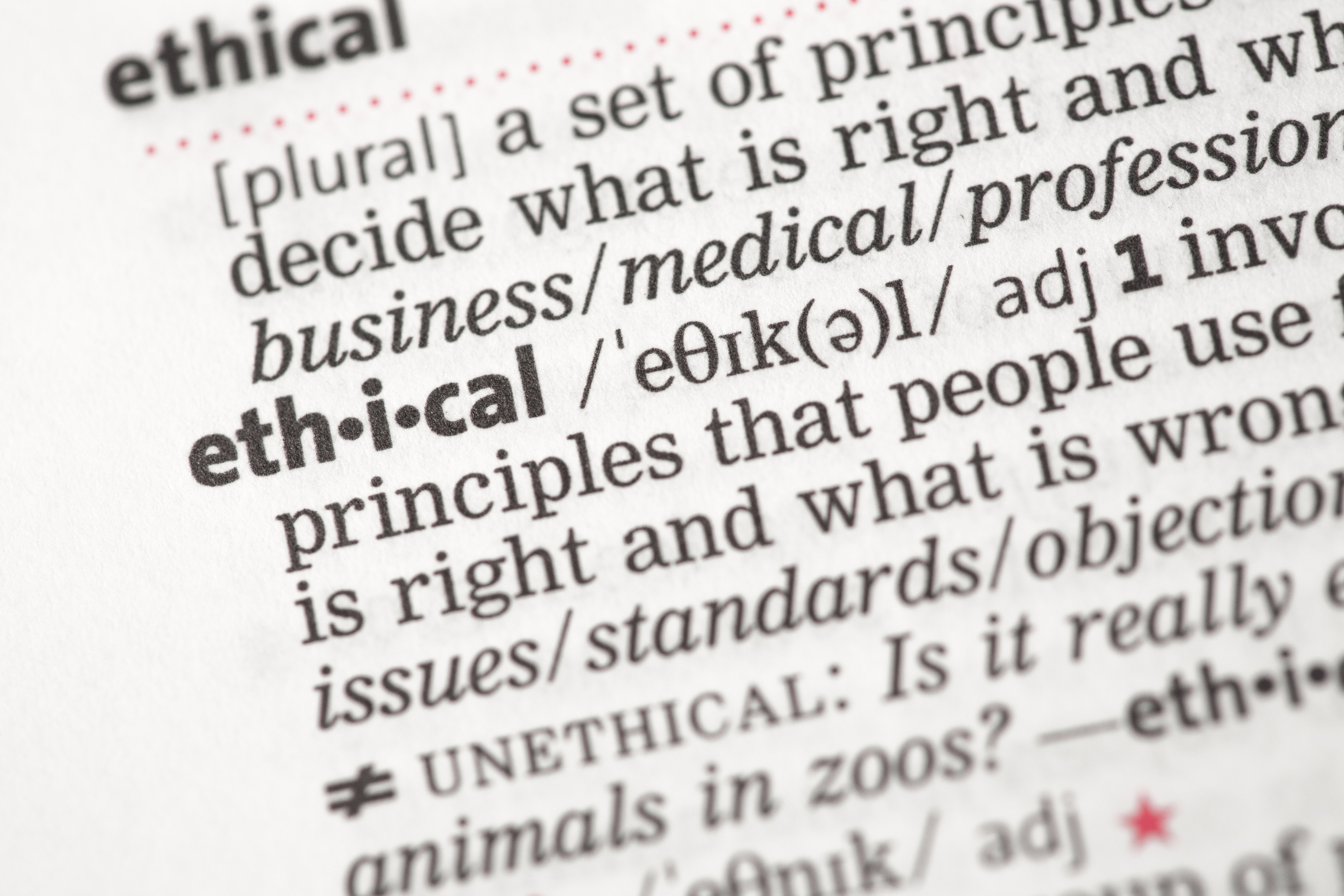 Ethical definition in the dictionary